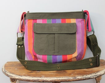 Upcycled Multicolored Striped Zippered Crossbody Purse