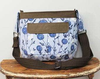 Upcycled Blue and Brown Floral Zippered Crossbody Purse