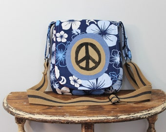 Upcycled Blue and White Floral Peace Sign Small Messenger Bag