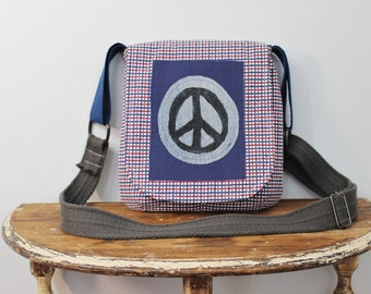 Upcycled Navy Blue, Red and White Plaid Peace Sign Small Messenger Bag
