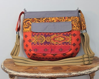 Upcycled Orange, Gold and Red Floral Zippered Crossbody Purse