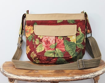 Upcycled Burgundy Floral Zippered Crossbody Purse