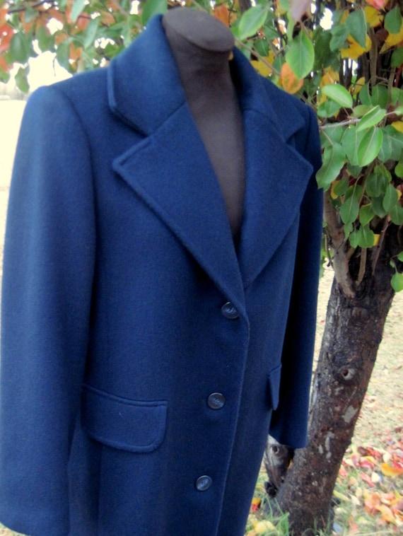 Navy Winter Coat Long Women's Coat Wool Coat Navy