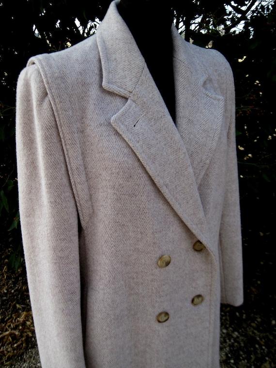 Womens Winter Coat Herringbone Coat Cream Winter C