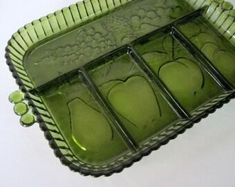 Indiana Relish Tray, Green Relish Tray, Green Divided Tray, Divided Relish Tray, Fruit Divided Tray, Avocado Divided Tray, Green Fruit Tray