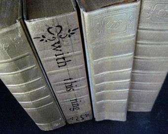 Wedding Books Gold Books Gold Wedding Books Metallic Gold Books Beach Wedding Staging Decor Painted Books Wedding Book Decor Art Deco Books