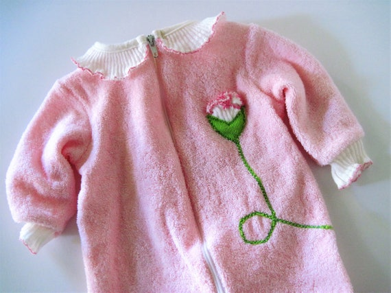 Vintage Baby Sleeper Pink Infant Sleeper Baby One