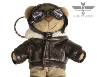 Teddy Pilot Key Ring Flying Military Bear