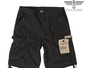 Black Prewash Paratrooper Shorts