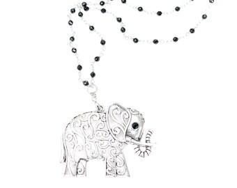 Elephant pendant with black rosary beaded chain. Black and silver elephant pendant, Italian Jewellery, handmade piece, silver finish.