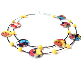 Oriental exotic flowers necklace. Shell and jade choker, yellow choker, mother of pearl choker. Eclectic OOAK jewelry. Gift idea for her.