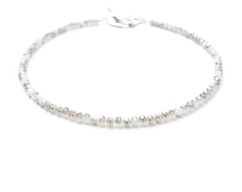 Grey crystal beaded necklace, chinese crystal faceted grey and milk crystal choker with huge silver rhodium clasp. Italian jewellery