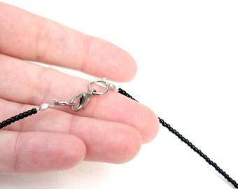 Black choker, black beaded short necklace made of glass black beads. Black glass necklace, strand necklace, black choker. Understated choker