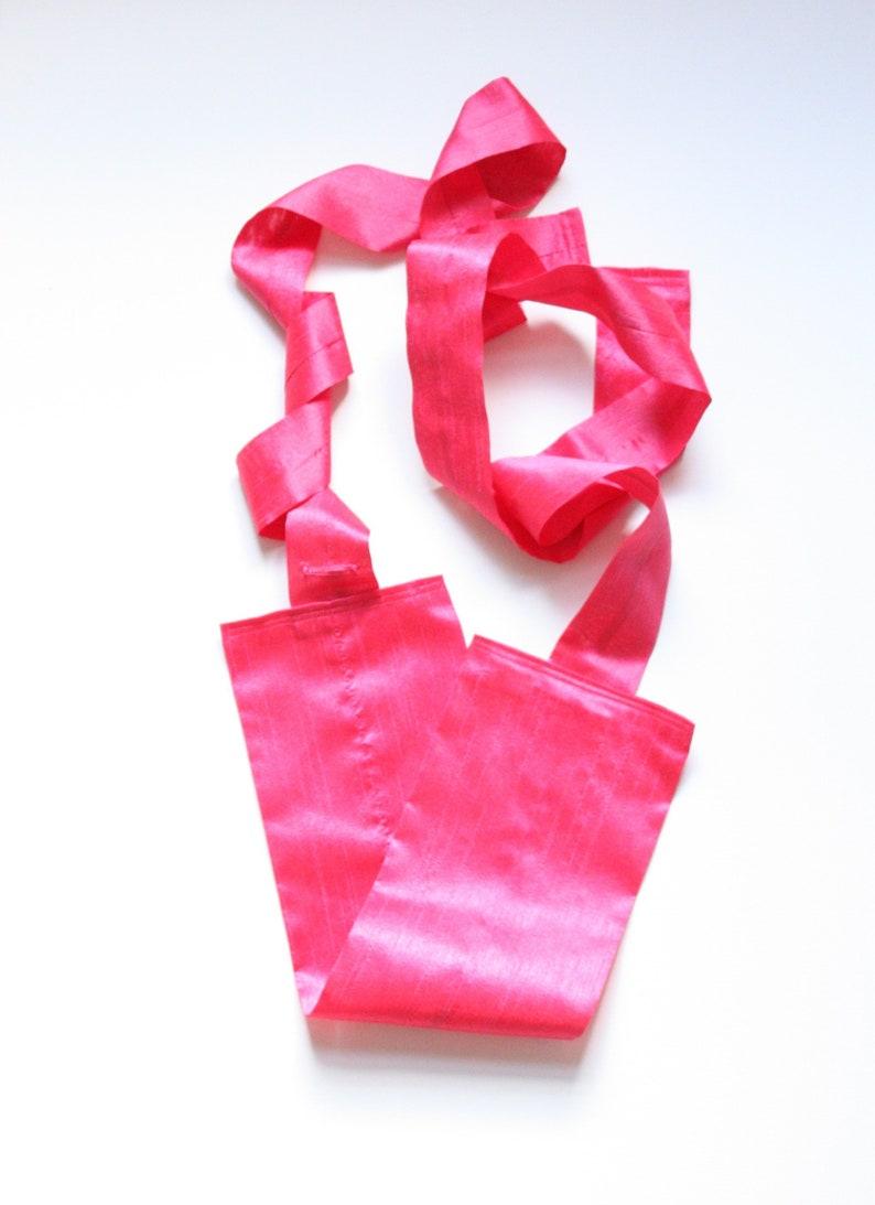 Silk obi belt. Pink Japanese belt with belt loop. Dupioni silk image 0