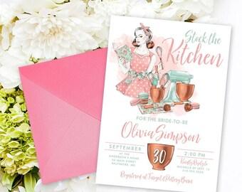 Retro Kitchen Bridal Shower Invitation