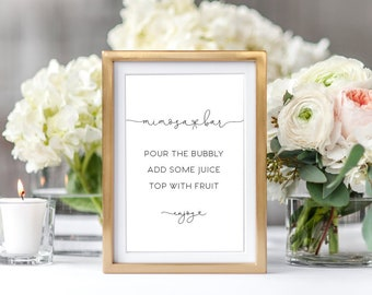 INSTANT DOWNLOAD Black and White Mimosa Bar Sign - Printable Sign - Pour the Bubbly 8x10 Sign Printable