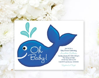 Preppy Whale Baby Shower Invitation Navy and Turquoise Nautical Invitation Under the Sea Oh Baby Oh Boy Little Squirt Printable