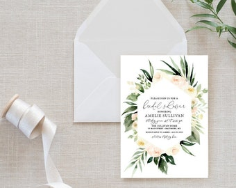 Blush Pink Floral Bridal Shower Invitation - Blush Pink Flowers - Printed Invitations - Greenery Invitation Watercolor
