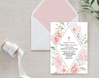 Rose Gold Pink Floral First Holy Communion Invitation - Blush Pink Roses Peony Flowers Pink Baptism Printable Party Invite