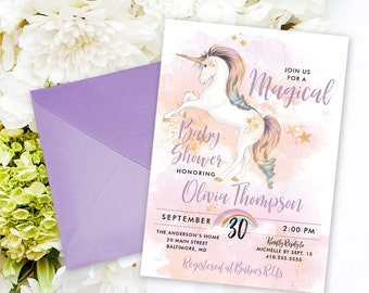 Unicorn Baby Shower Invitation - Printable Party Invitation Rainbow Unicorn Faux Gold Glitter Unicorn Invite Baby Girl Mommy to Be