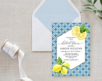 Mediterranian Lemon Bridal Shower Invitation