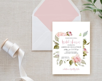 Pink Floral Bridal Shower Invitation - Blush Pink Flowers - Baby Shower - Peony Roses Greenery Watercolor Printable
