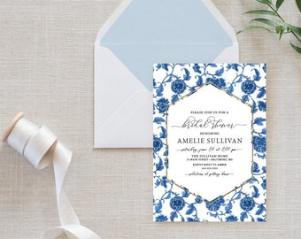 Floral Chinoiserie Bridal Shower Invitation