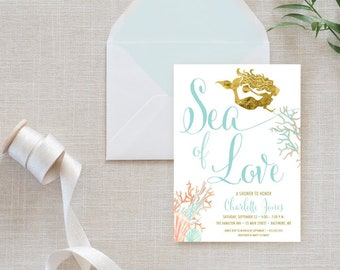 under the sea mermaid bridal shower invitation boho sea of love coral turquoise faux gold foil beach invitation gold glitter watercolor