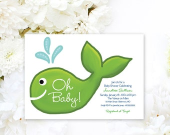 Preppy Whale Baby Shower Invitation Navy and Green Nautical Invitation Under the Sea Oh Baby Oh Boy Little Squirt Printable