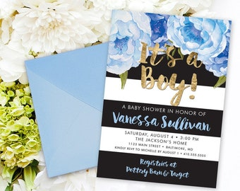 Blue Floral Baby Shower Invitation