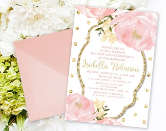 Floral Holy Communion Invitation