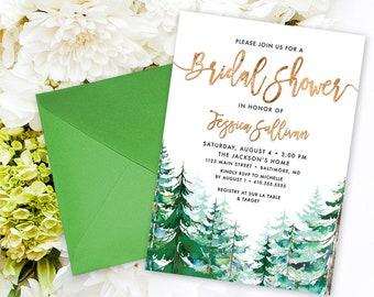 Pine Tree Bridal Shower Invitation - Watercolor Conifer Pine Tree Bridal Shower Invitation Evergreen Rustic Pine Tree Printable