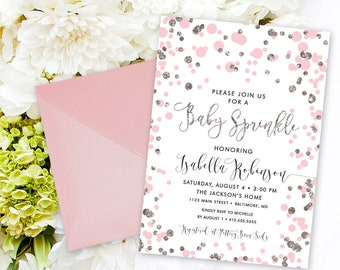 Pink Confetti Baby Shower Sprinkle Invitation