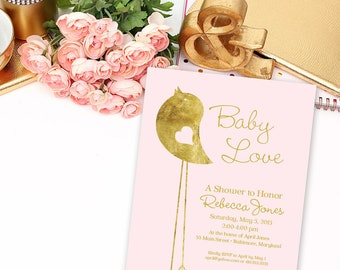 Blush and Gold Bird Shower Invitation