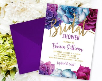 Succulents Bridal Shower Invitation - Purple and Blue Succulent and Faux Gold Foil Watercolor Floral Boho Shower Invitation Printable