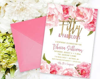 Fifty and Fabulous Birthday Party Invitation - Pink Peony Ranunculus and Faux Gold Foil Watercolor Floral Boho 60th 50th 40th  Printable