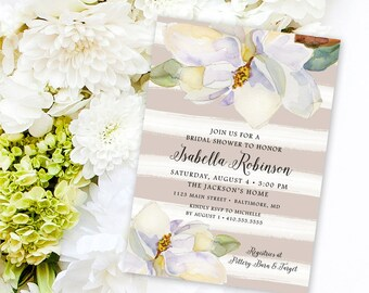 Magnolia Shower Invitation Bridal Shower Baby Shower White Flowers and Grey Watercolor Stripes Southern Party Invitation Printable