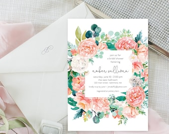 Pink Floral Greenery Bridal Shower Invitation - Garden Shower - Baby Shower Invitation - Peony Roses Blush Invitation Watercolor Printable