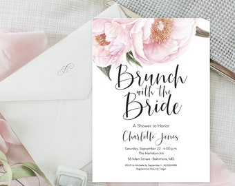 Pink Floral Greenery Brunch with the Bride Shower Invitation