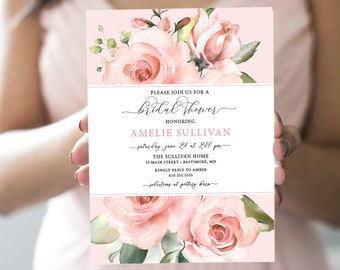 Pink Floral Bridal Shower Invitation - Blush Pink Flowers - Baby Shower - Pink Roses Greenery Invitation Watercolor Printable