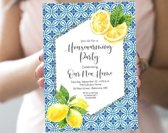 Mediterranean Lemon Housewarming Party Invitation - Blue Tile Housewarming Invitation