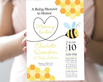 Mommy to Bee Baby Shower Invitation - Honey Bee - Printed Invitations - Honeycomb - Meant to Bee - Bride to Bee