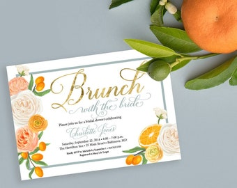 Brunch with the Bride, Orange Blossom Floral Bridal Shower Invitation  - Printed Invitations - Mimosa Invitation