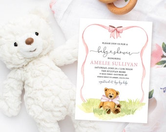 Bear with Blush Pink Ribbon Baby Shower Invitation