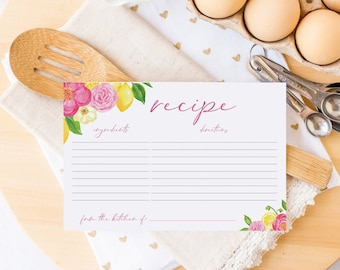 Lemon Recipe Cards - Lemon and Floral Recipe Card - Pink Flowers - Recipes for Bride to Be - Instant Download - Printable