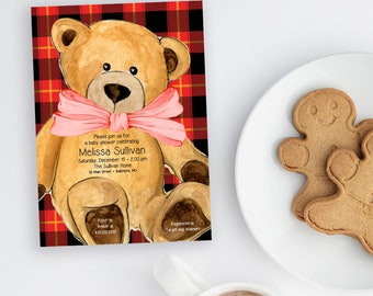 Red Buffalo Check Teddy Bear Baby Shower Invitation - Christmas Baby Shower - Holiday Bear Baby Shower