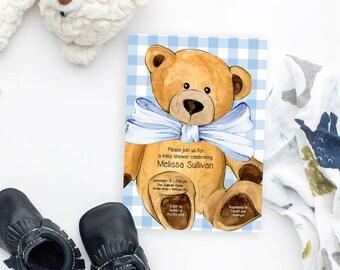 Light Blue Gingham Teddy Bear Baby Shower Invitation
