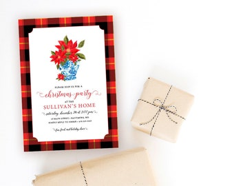 Red Flannel and Ginger Jar Christmas Party Invitation - Chinoiserie Poinsettia Invitation - Red Buffalo Check