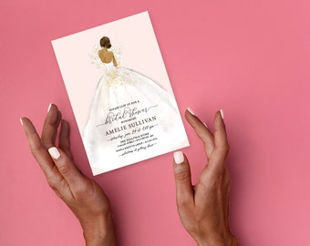 African American Bride in a Dress Bridal Shower Invitation