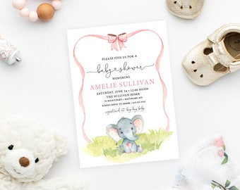 Elephant with Blush Pink Ribbon Baby Shower Invitation